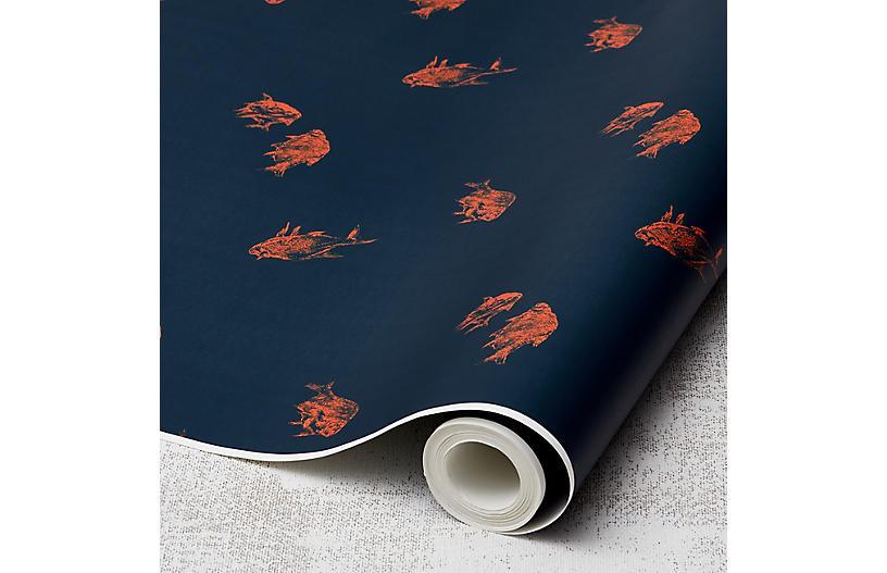 Nathan Turner Goldfish Wallpaper, Indigo