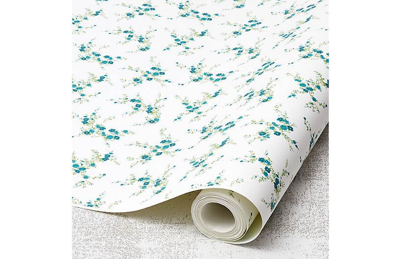 Jolene Wallpaper, Teal