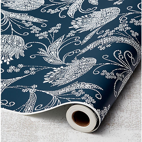 Eleanor Rigby Wallpaper, Indigo