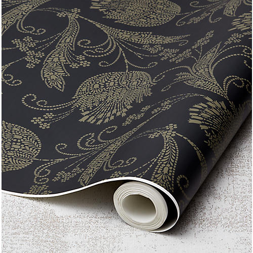Eleanor Rigby Wallpaper, Charcoal/Umber