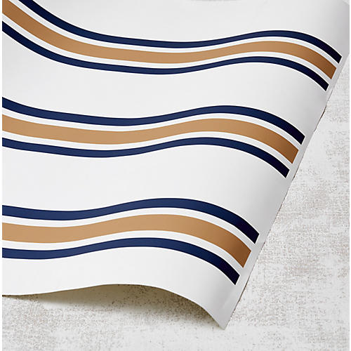 Between the Lines Wallpaper, Leather/Indigo