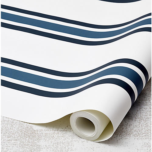 Between the Lines Wallpaper, Cadet Blue/Indigo