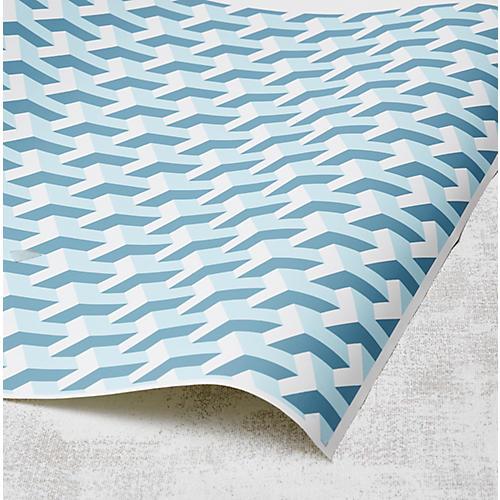 Y Not Wallpaper, Baby Blue/Seaside
