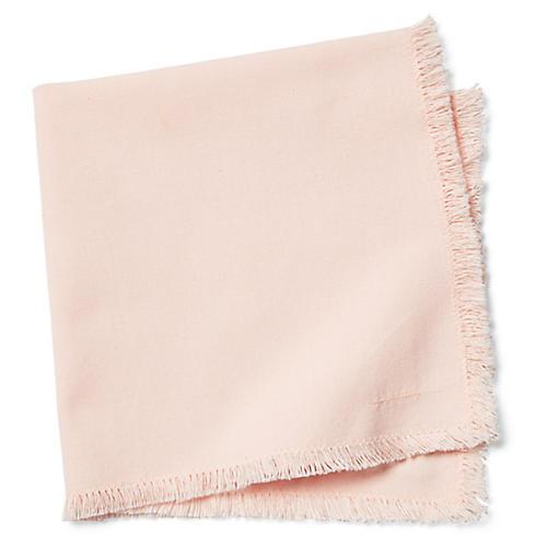 S/4 Lynn Fringe Dinner Napkins, Blush Pink