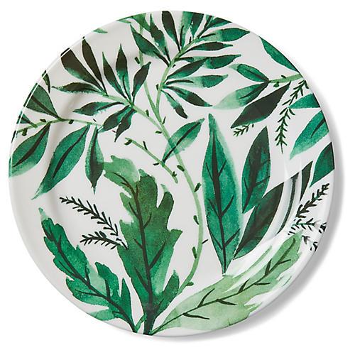 S/4 Draper Leaf Melamine Dinner Plates, Green