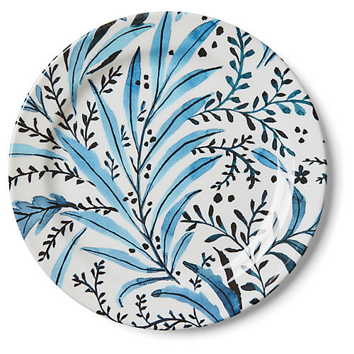 S/4 Draper Stem Melamine Dinner Plates, Blue/White