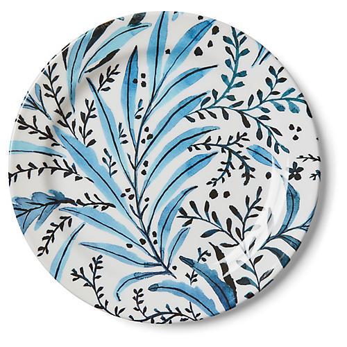 S/4 Draper Stem Melamine Dinner Plates, Blue/White