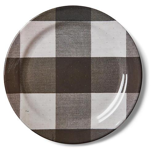 S/4 Morris Gingham Melamine Dinner Plates, Black