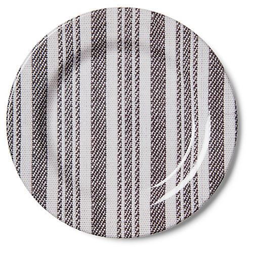S/4 Morris Striped Melamine Salad Plates, Black