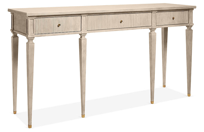 Gustavian Console, Antiqued Gray