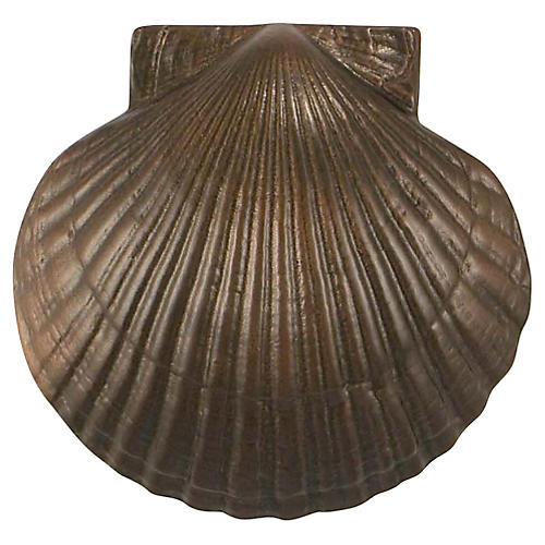 Bay Scallop Door Knocker, Oiled Bronze