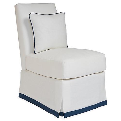 Wilshire Slipper Chair, Ivory/Blue Linen