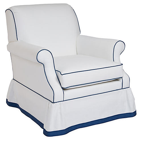 San Remo Club Chair, Ivory/Blue Linen