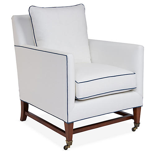 Brentwood Club Chair, Ivory/Blue Linen