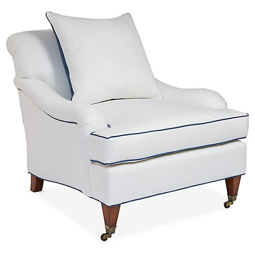 Santa Barbara Club Chair, Ivory/Blue Linen