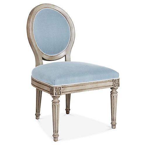 Carlyle Side Chair, Light Blue Linen