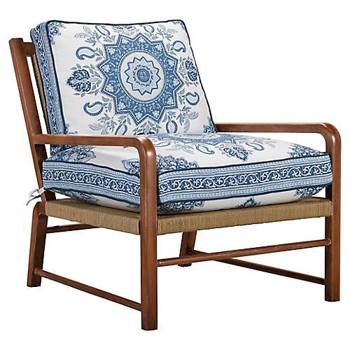 Miramar Accent Chair, Blue Medallion Linen