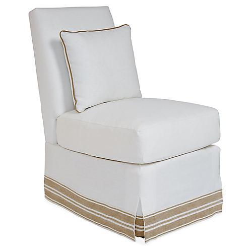 Wilshire Slipper Chair, Ivory/Tan Band Linen