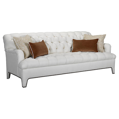 Beverly Tufted Sofa, Ivory Linen