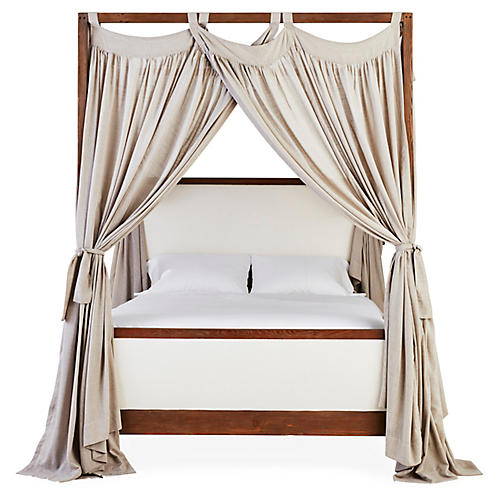 S/6 Evelyn Canopy Bed Panels, Fog