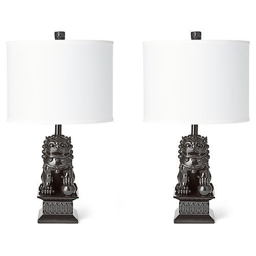 S/2 Mini Foo Dog Table Lamps, Black