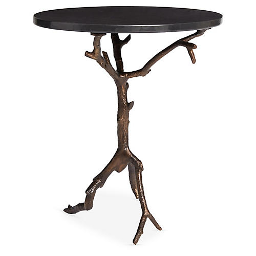 Laurel Side Table, Black/Bronze