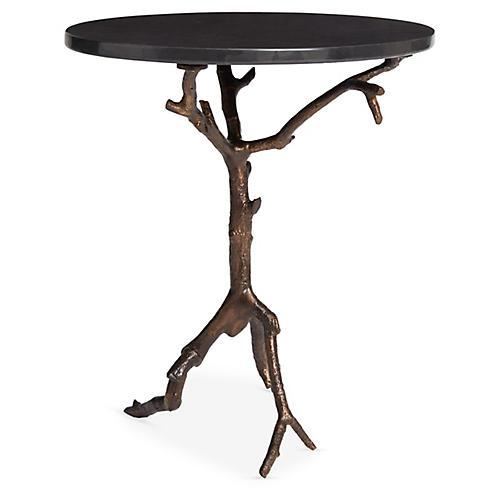 Laurel Side Table, Black/Bronze