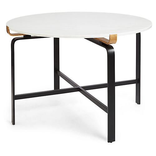 Juliette Round Dining Table, White/Gold