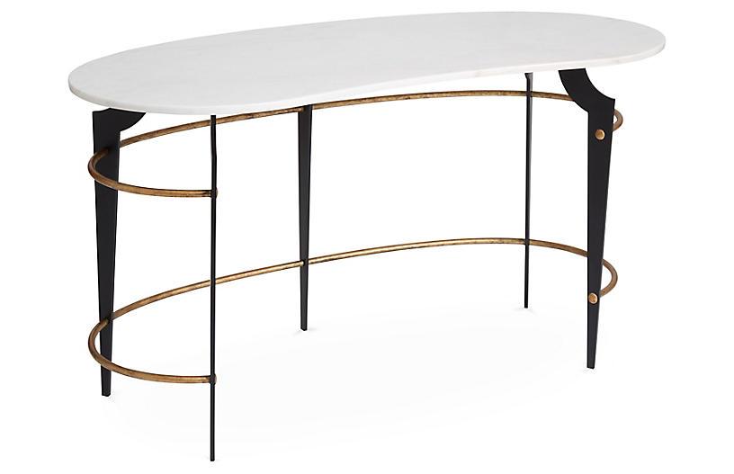 Bixler Desk, White/Gold