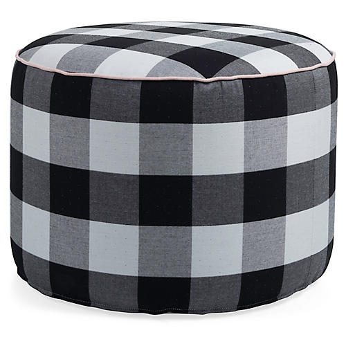 Frances Round Pouf, Gingham