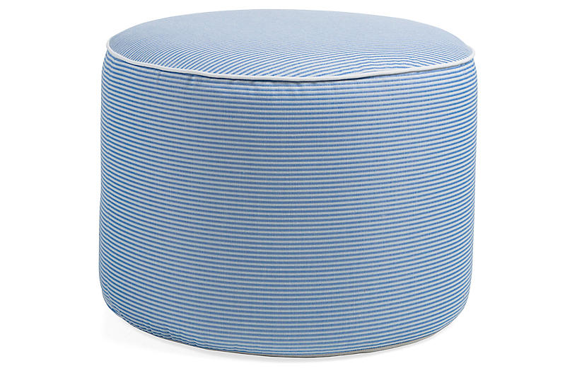Lola Round Pouf, Denim/White
