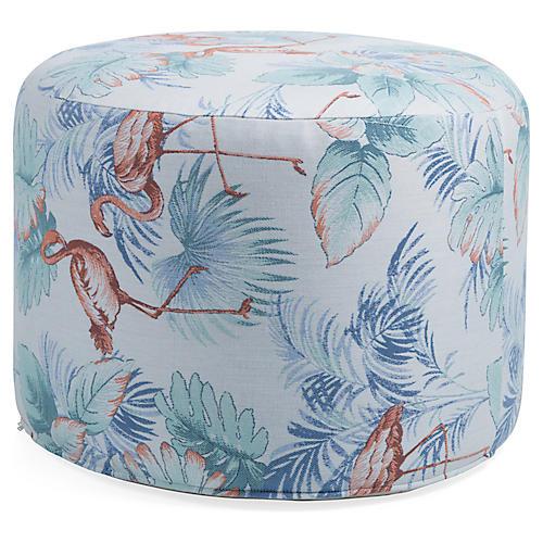 Celia Round Pouf, Blue/Multi Sunbrella