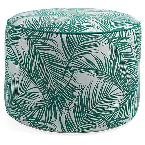 Palma Round Pouf, Emerald/White Sunbrella