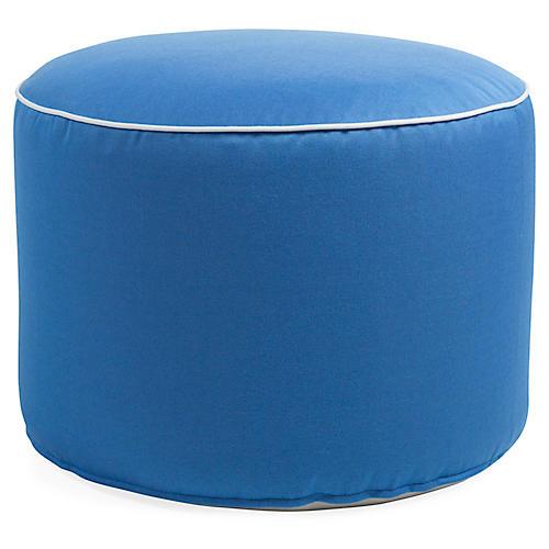 Celia Round Pouf, Blue/White Sunbrella