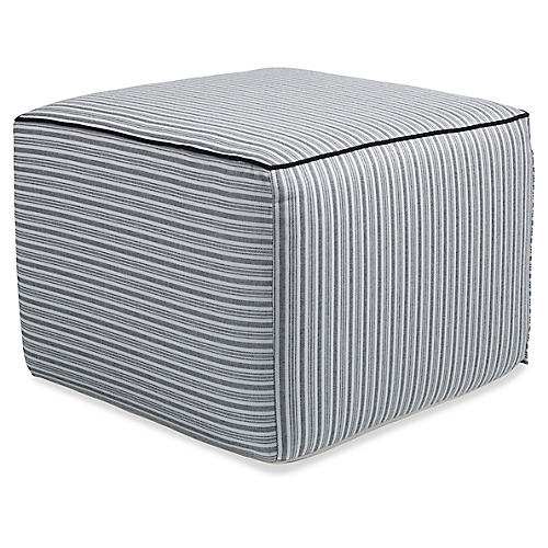 Frances Square Pouf, Black/White Stripe