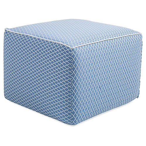 Celia Square Pouf, Denim/White