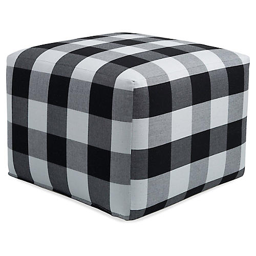 Frances Square Pouf, Gingham