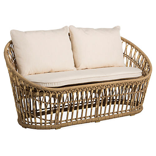 Palma Wicker Loveseat, Natural