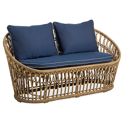 Palma Wicker Loveseat, Midnight/White