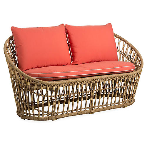 Palma Wicker Loveseat, Coral