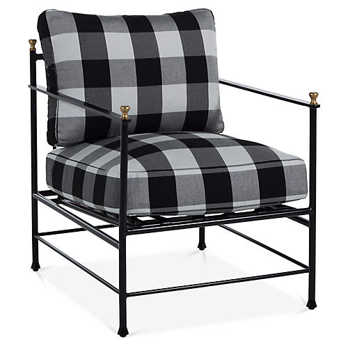Frances Lounge Chair, Gingham