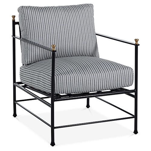 Frances Lounge Chair, White/Black Stripe