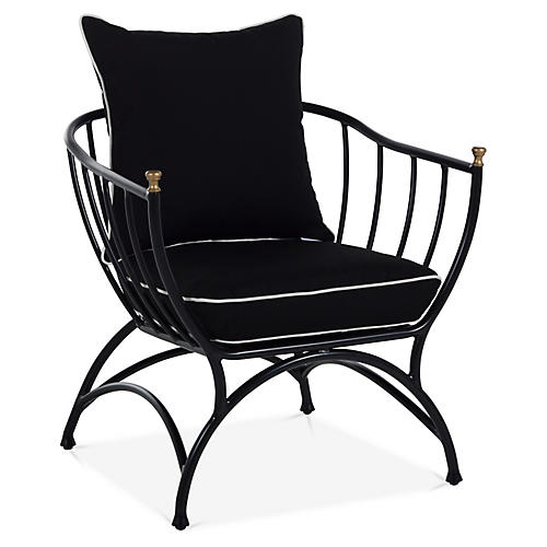 Frances Accent Chair, Black/White