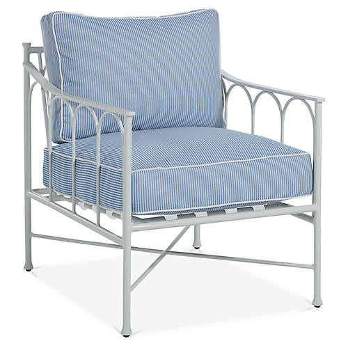 Celia Lounge Chair, Denim/White Stripe