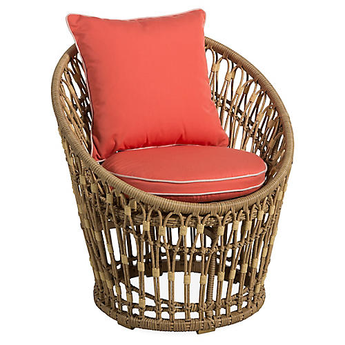 Palma Wicker Chair, Coral
