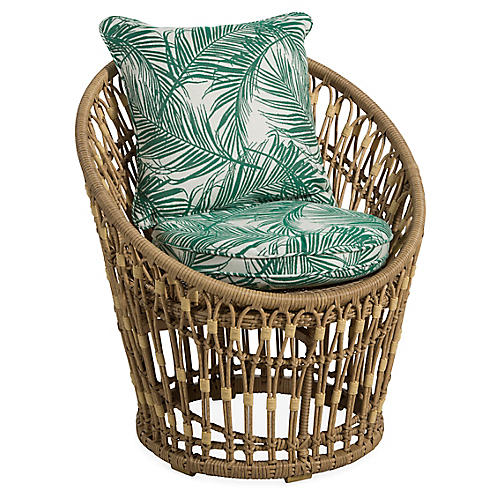 Palma Wicker Chair, Emerald Palm