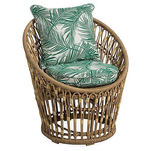 Palma Wicker Chair, Emerald Palm