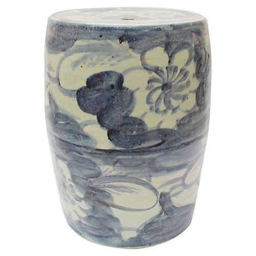 Nola Garden Stool, Blue/White