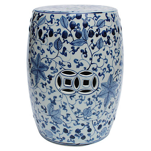 Wyatt Garden Stool, Blue/White