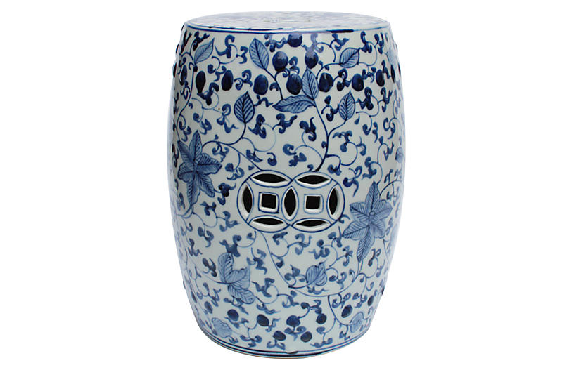 Astonishing Wyatt Garden Stool Blue White Outdoor Essentials Creativecarmelina Interior Chair Design Creativecarmelinacom